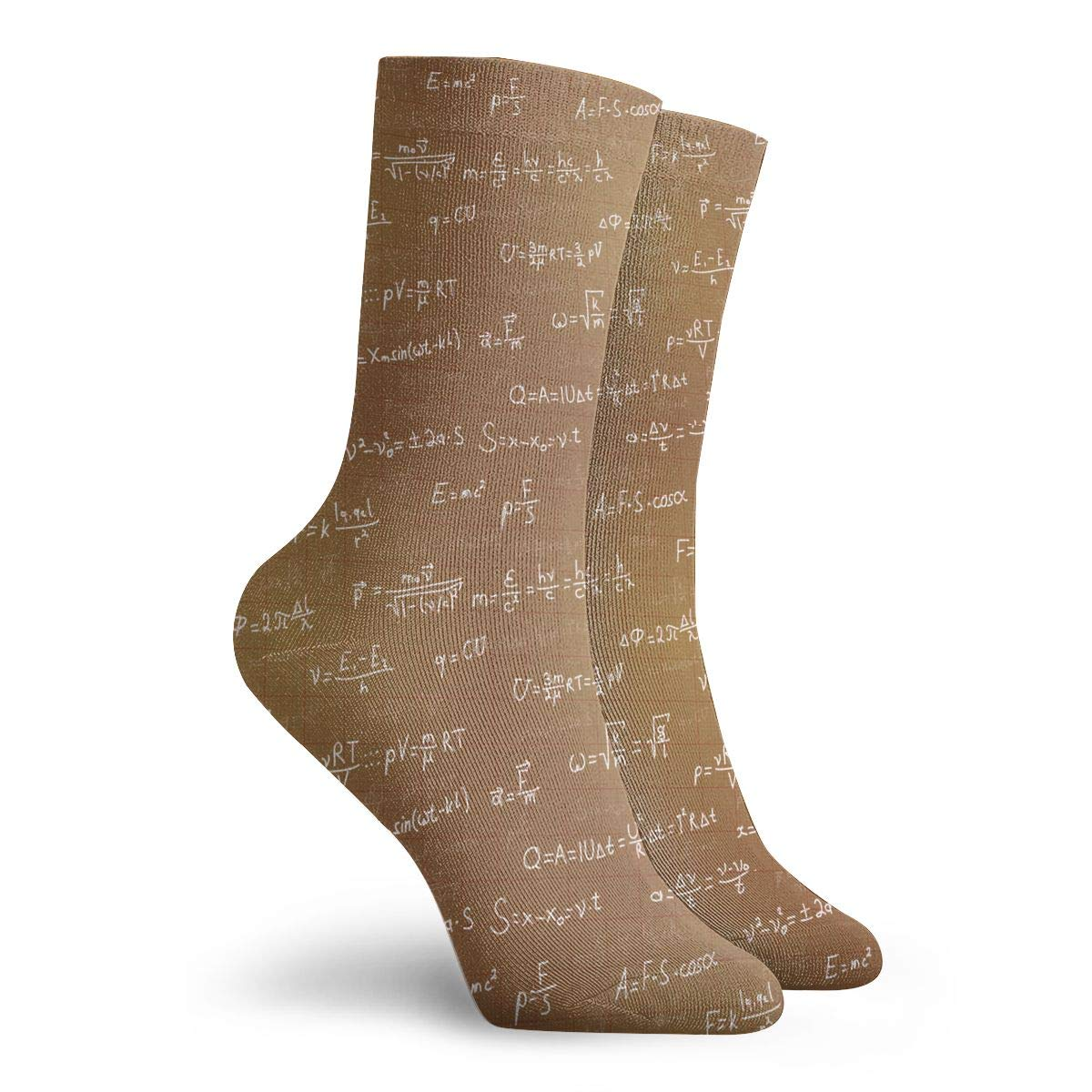 Unisex Physics Formulas On Brown Athletic Quarter Ankle Print Breathable Hiking Running Socks