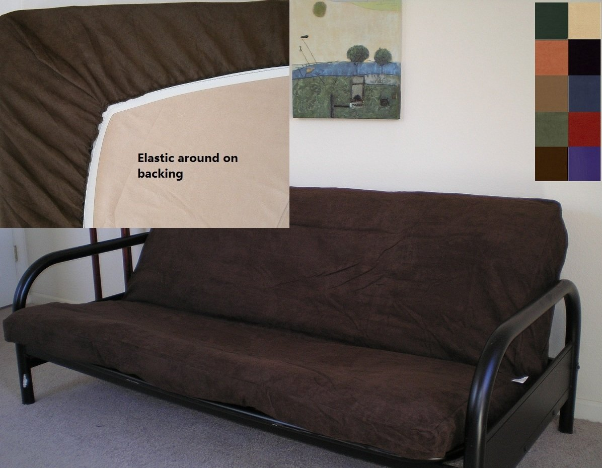OctoRose Bonded Micro Suede Elastic Around on Backing Easy Fit Fitted Futon Slipcover (Brown, Queen)