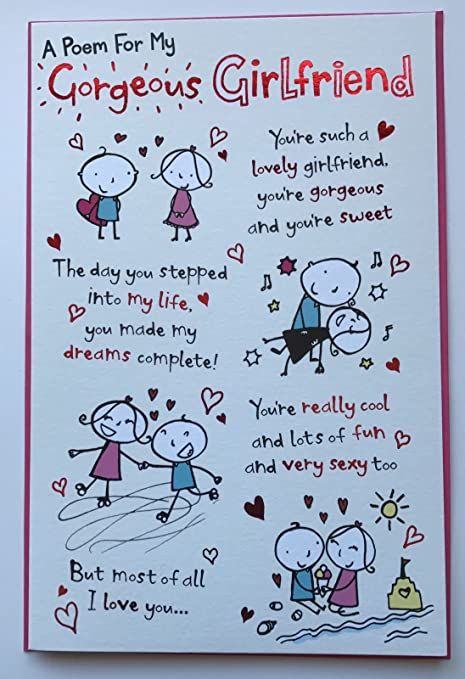 a poem for my gorgeous girlfriend humour valentine card amazon co