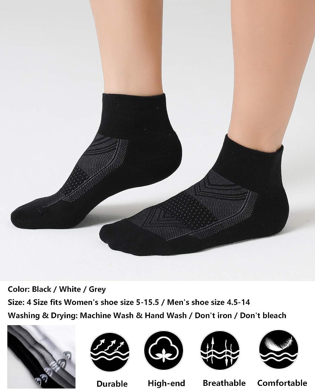 CelerSport Running Ankle Socks for Men Women - Sport Athletic Socks with Cushion 6 Pairs Seamless Toe