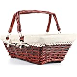 MEIEM Wicker Basket Gift Baskets Empty Rectangular Willow Woven Picnic Basket Easter Candy Basket Large Storage Basket Wine Basket with Handle Egg Gathering Wedding Basket (Brown)