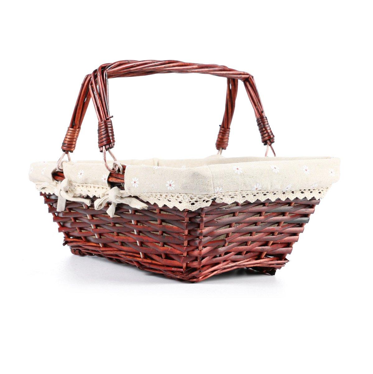 MEIEM Wicker Basket Gift Baskets Empty Rectangular Willow Woven Picnic Basket Easter Candy Basket Large Storage Basket Wine Basket with Handle Egg Gathering Wedding Basket (Brown) by MEIEM