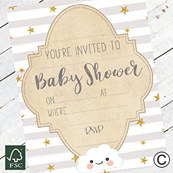 The Little Party Company Baby Shower Invitations Pack Of 16 Baby Invite Cards Neutral Design Perfect For Boy Or Girl Baby Showers Bsicg