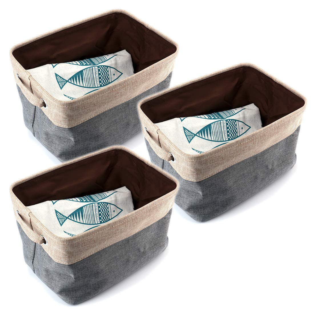 Tosnail 3 Pieces Foldable Storage Bin Basket with Handles - Great for Home, Office, Closet - Gray