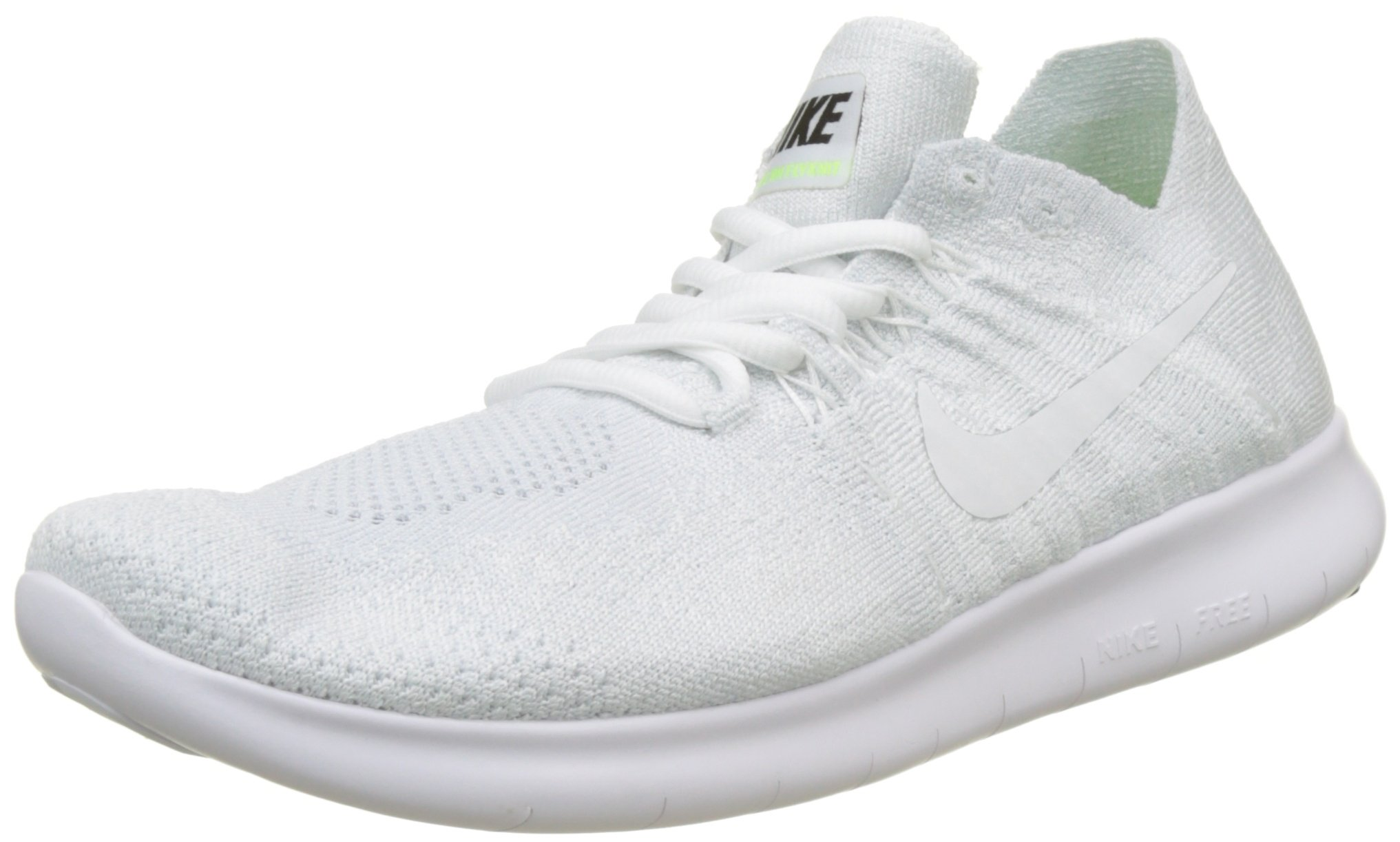 Nike Women's Free RN Flyknit 2017 Running Shoes (9.5, White/Pure Platinum/Black-M)