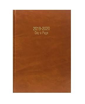 Precious 2018-2019 - Agenda escolar tamaño A4 con tapa dura y día por página, inglés, color BROWN / TAN