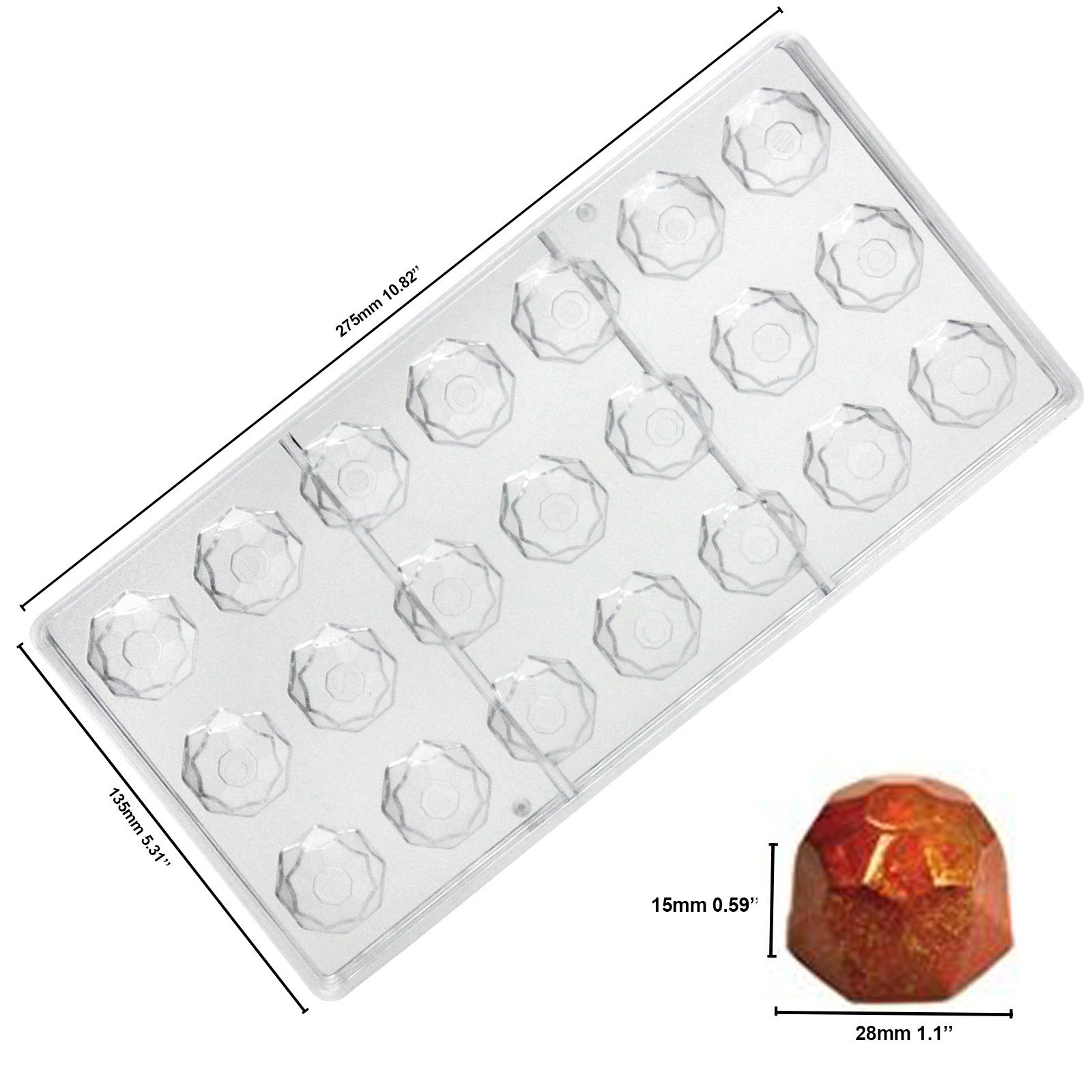 Funshowcase Rose, Heart, Dome, Diamond,Oval Shape Chocolate Mold Plastic 6-piece Set Bite Size by FUNSHOWCASE (Image #5)