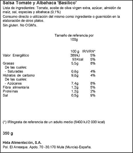 Hida Salsa Tomate con Albahaca - Paquete de 6 x 350 gr - Total: 2100 gr: Amazon.es: Alimentación y bebidas