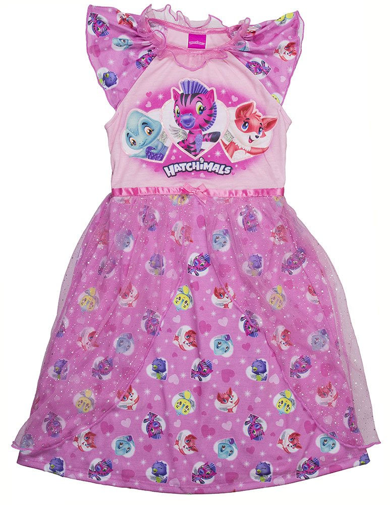 Hatchimals Big Girls' Hatch a Whole World Pajama Dress, Pink, 6/6X