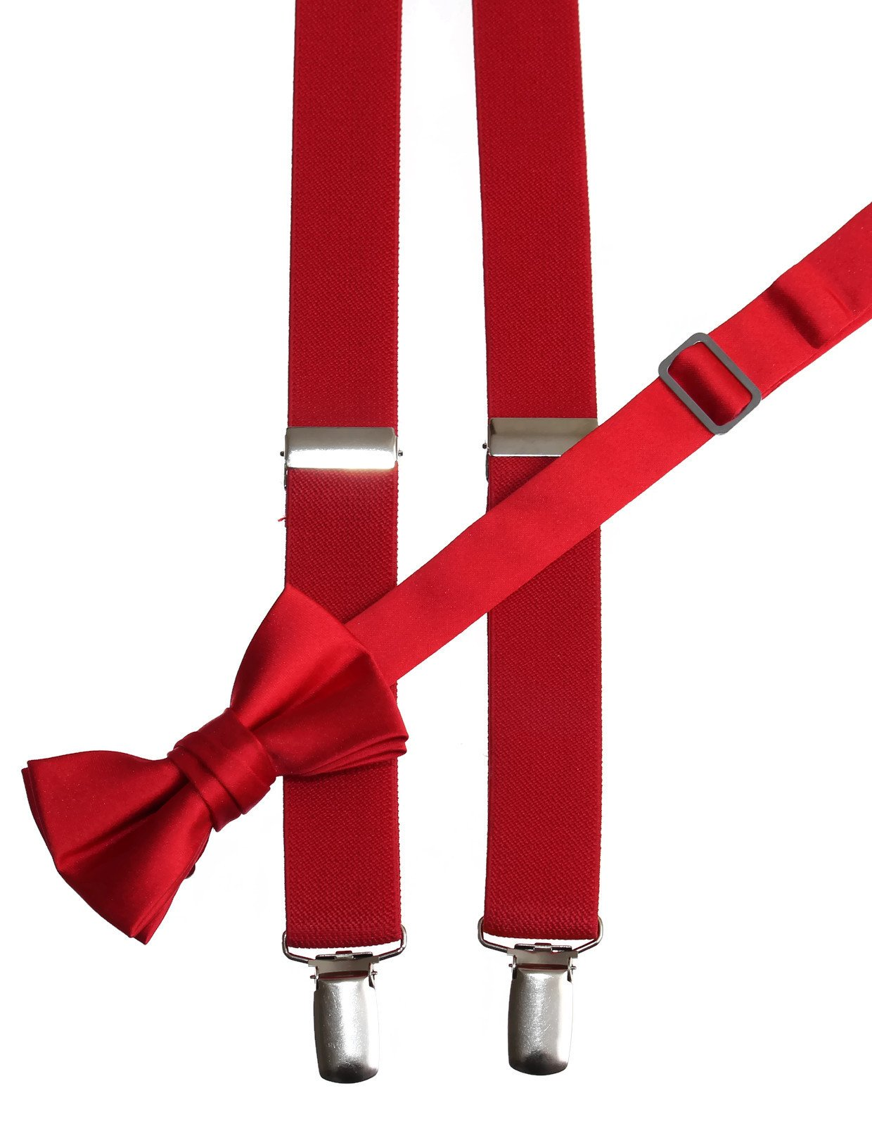 Matching Red Adjustable Suspender and Bow Tie Sets, Kids to Adults Sizing (30'' Boys Ages 6-11)