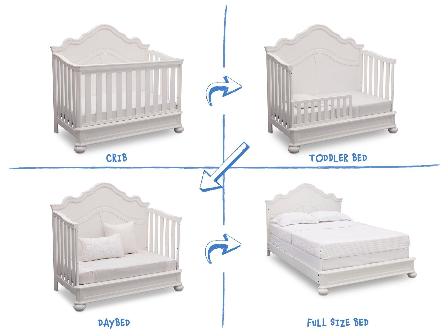 Simmons Kids Peyton 6-Piece Nursery Furniture Set (Convertible Crib, Dresser, Chest, Changing Top, Toddler Guardrail, Full Size Conversion), Bianca White by Delta Children (Image #4)
