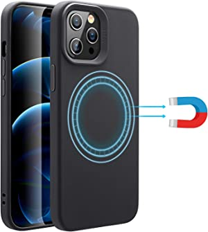 ESR Soft Case Compatible with iPhone 12/iPhone 12 Pro [HaloLock Magnetic Wireless Charging] [Silicone Rubber Case] Cloud Series – Black