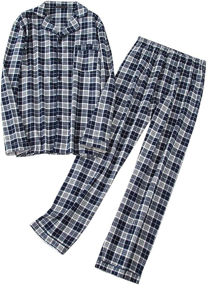 Pijama para hombre de algodón a cuadros de dos piezas, largo, camiseta de manga larga y pantalones de pijama