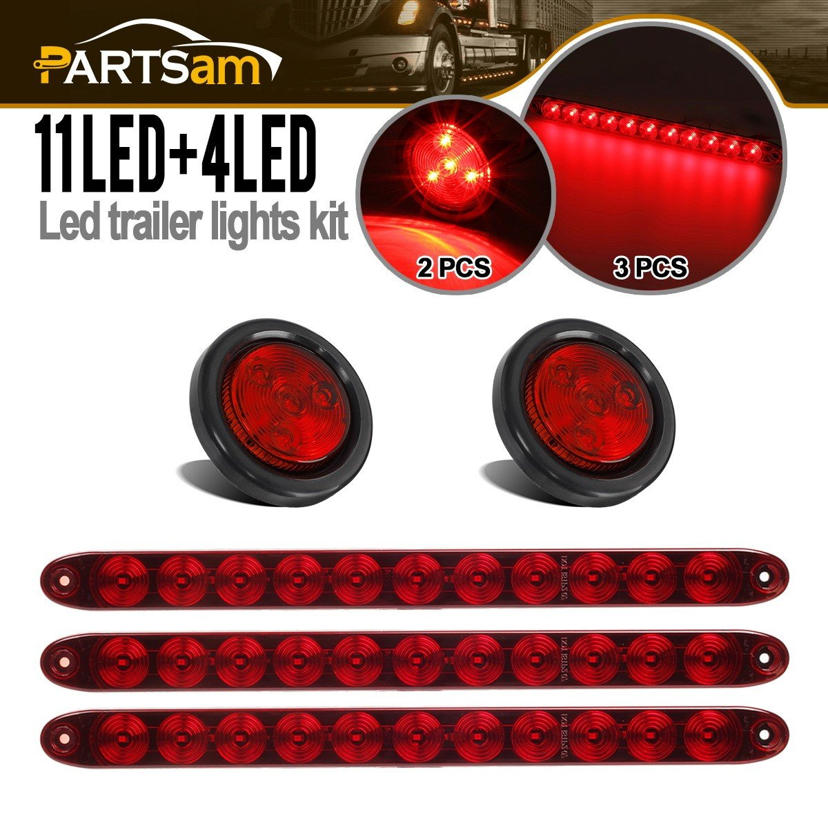 Submersible LED Over 80'' Trailer Light Kit, 15'' Inch Red Brake Stop Turn ID Light Bar Trailer Truck RV - Multifunction, Red Sealed Trailer Clearance and Side Marker Lights w Grommets and Pigtails