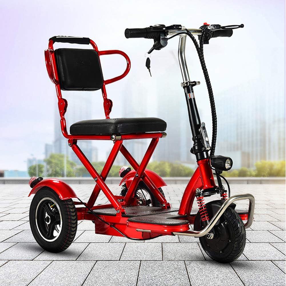 anking Triciclo para Adultos, Triciclo Eléctrico Plegable Scooter De Tres Ruedas- Kilometraje Máximo 35Km/Carga 150 Kg/para Ancianos Y Discapacitados, 48V, Cuerpo De Aleación De Aluminio
