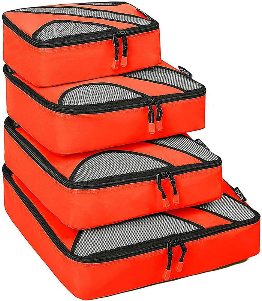 Liweibao Luggage Organizer 4 Set Packing Cubes Travel Luggage Organizers with Laundry Bag Zip Bag Color : Red