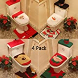 Yunanwa 4 Pack Christmas Decorations For Home Hotel Santa Snowman Elk Toilet Seat Cover Set Rug Tank with Tissue Box Cover
