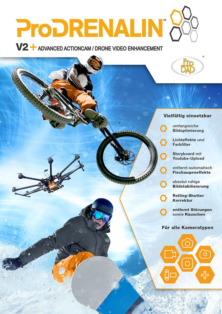 ProDRENALIN V2 Plus - Professional Action Cam stabilization and video enhancement solution [Download] by ProDAD