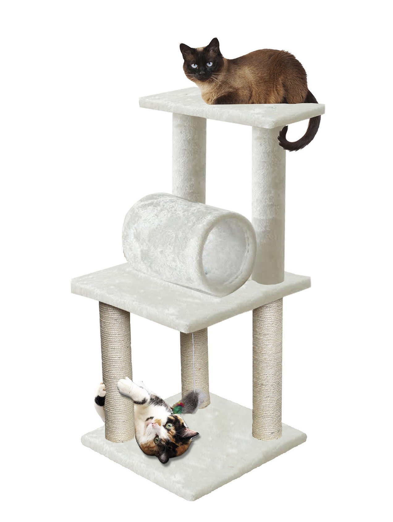 33 White Pet Cat Tree Play Tower Bed Furniture Scratch Post Tunnel Top Mouse toy notch by Unbranded by na (Image #1)