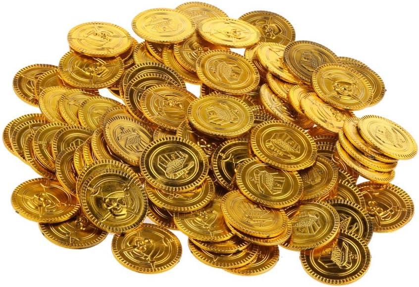 100 Piezas Monedas de Cumpleaños Oro del Pirata Acuñar Piñata ...