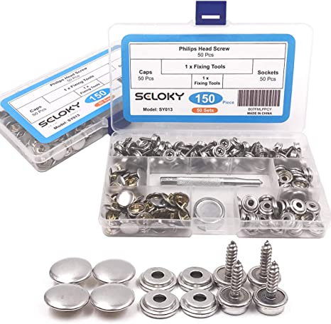 10 Set 3//8/'/' 15mm Stainless Steel Snap Fastener Buttons Screw Studs /& Tool !