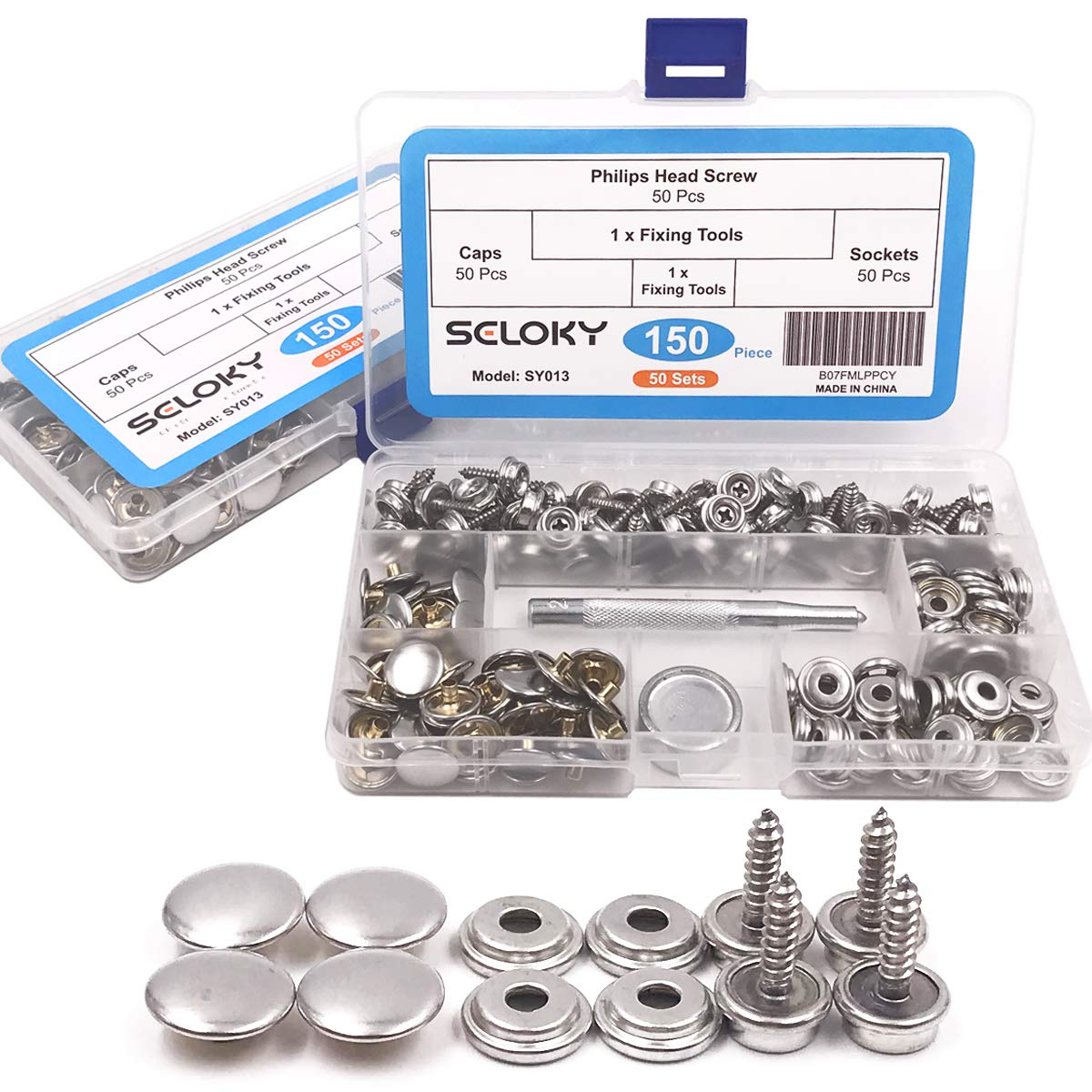 150 Pcs Snaps Fastener Screw Snaps, Heavy Duty Metal Snaps Button for Boat Canvas with 2 Pcs Setting Tool by Seloky, 50 Sets(Marine Grade, 3/8'' Socket, 5/8'' Screw) by Seloky