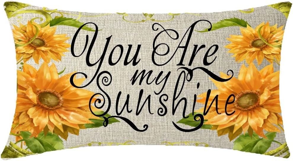 NIDITW Nice Gift Rustic Farmhouse Countryside Sunflower You are My Sunshine Cotton Linen Lumbar Throw Pillow Case Cover Home Chair Couch Outdoor Decor Oblong 12x20 inches