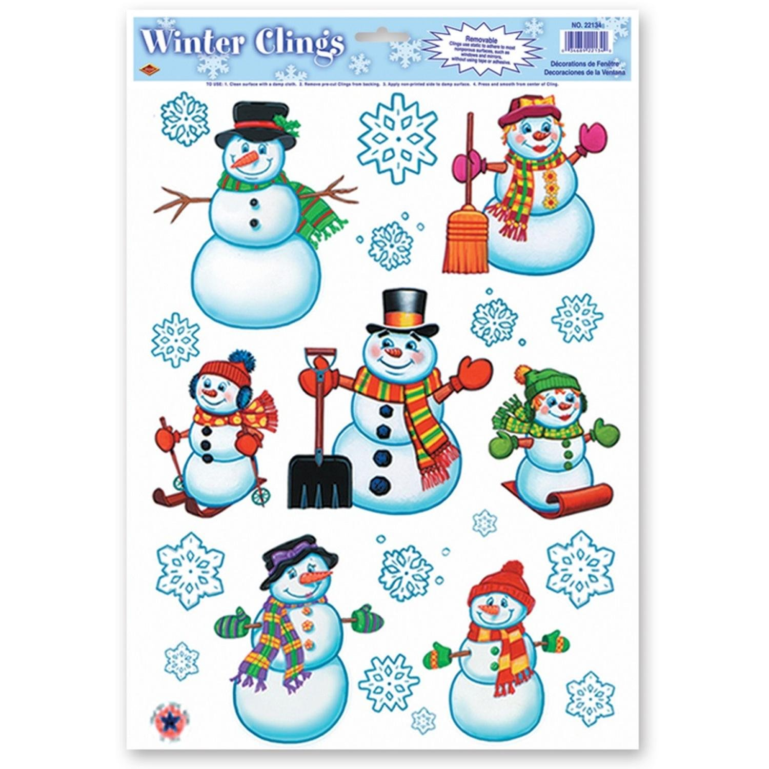 Club Pack of 192 Snowman Family and Snowflakes Window Clings Christmas Decorations 17''