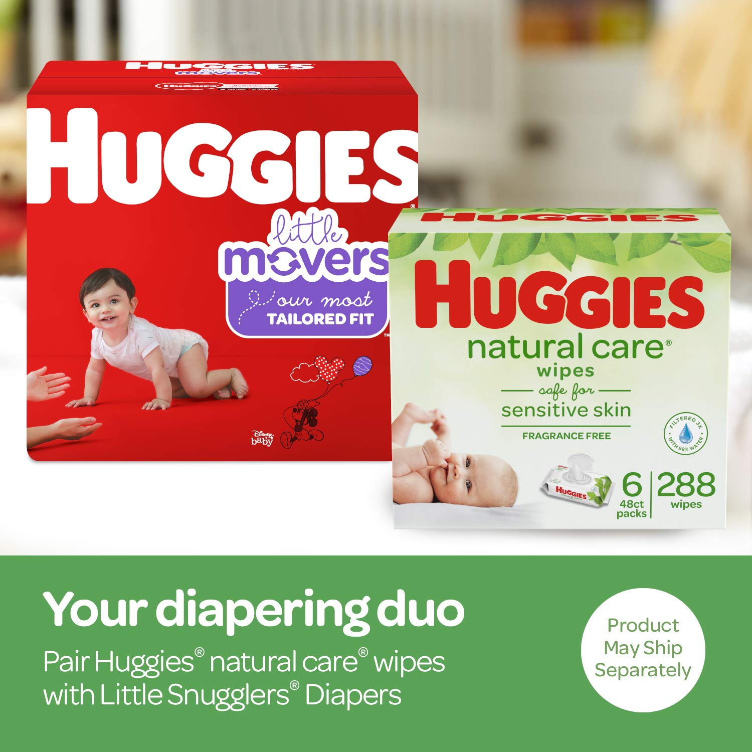 Huggies Brand Bundle – Huggies Little Movers Baby Diapers, Size 5, 124 Ct & Huggies Natural Care Unscented Baby Wipes, Sensitive, 6 Disposable Flip-Top Packs - 288 Total Wipes (Packaging May Vary)