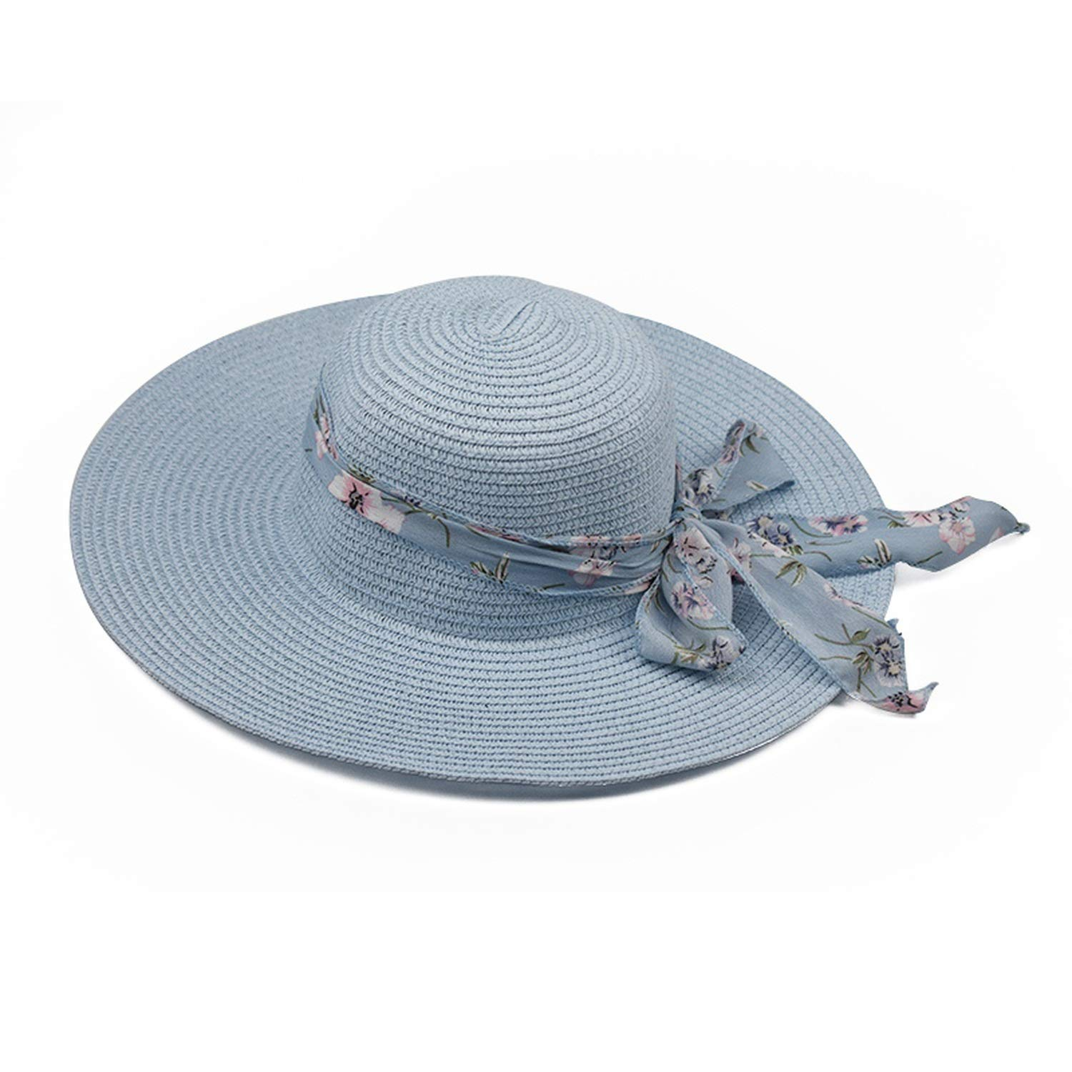 New 2019 Round Top Raffia Wide Brim Straw Summer Sun for Women with Leisure Beach Hats Lady Flat