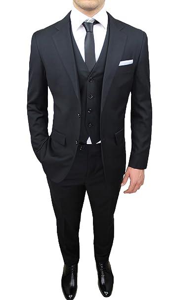 Vestito Matrimonio Uomo Nero : Abito completo uomo sartoriale nero elegante con gilet cravatta e