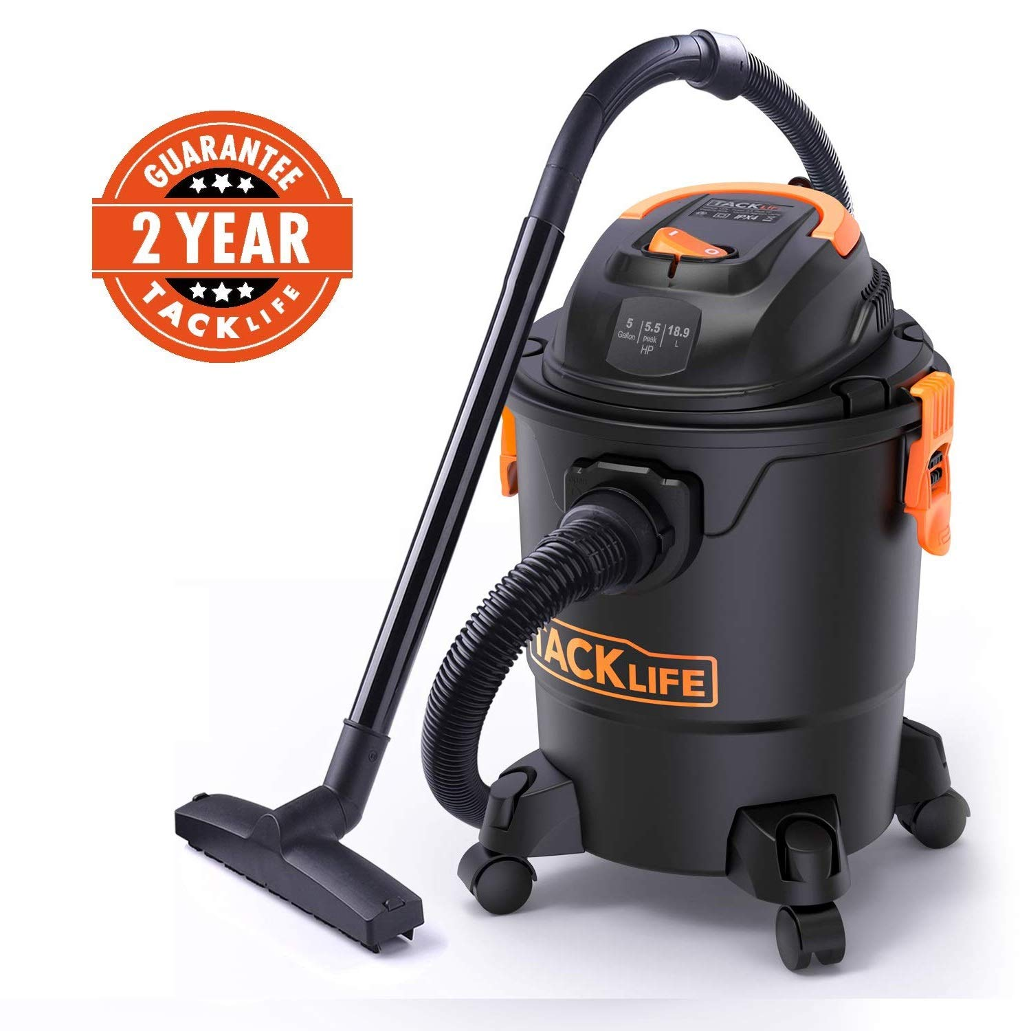 TACKLIFE Wet Dry Vacuum 5.5HP 5 gal Shop Vac with Wet Suction/Dry Suction/Blowing 85CFM wide cleaning range, suitable for home, garden,garage, workshop or vehicles-PVC01A