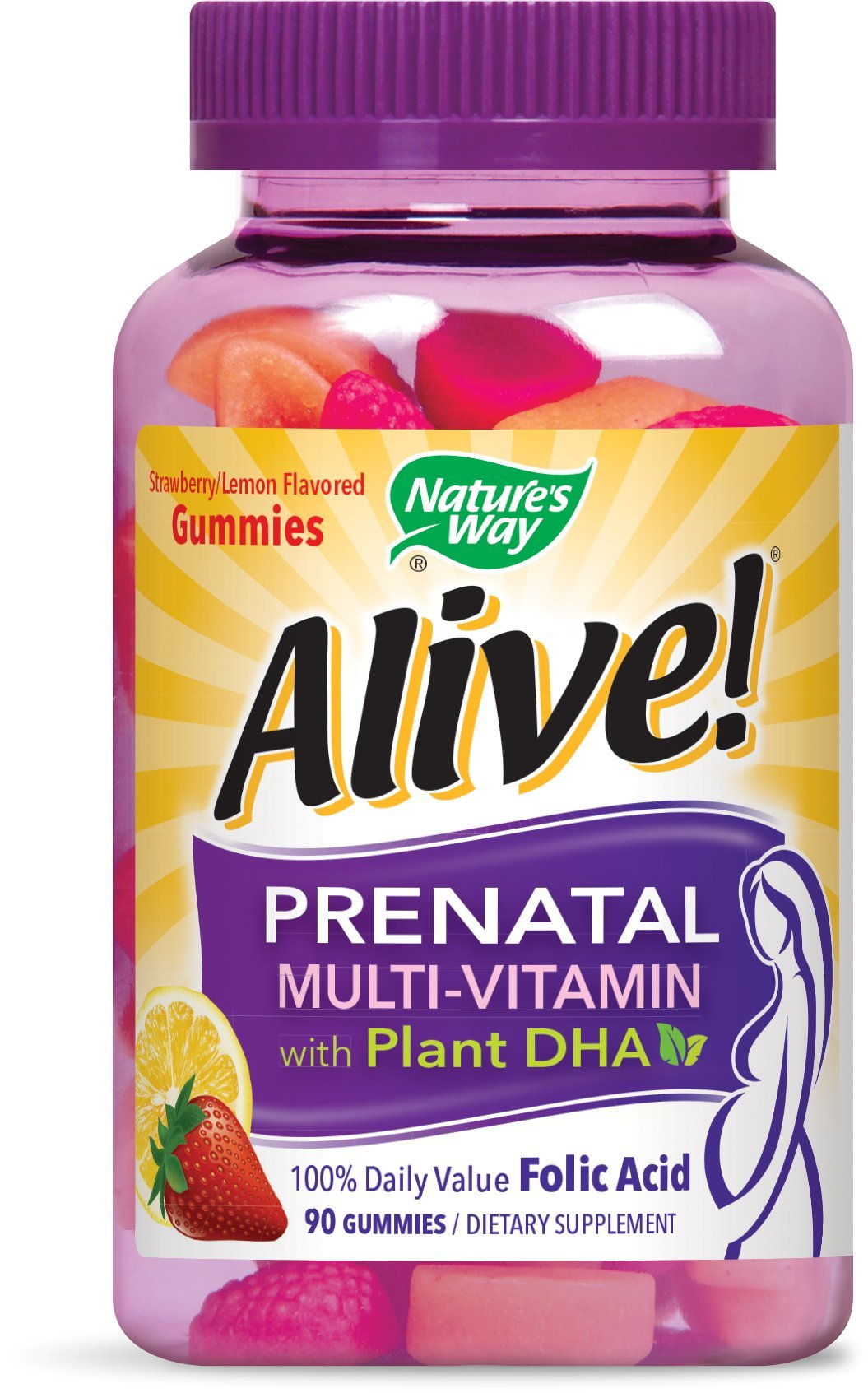 Nature's Way Alive!® Prenatal Gummy Multivitamin with DHA, Fruit and Veggie Blend (50mg per serving), Full B Vitamin Complex, Gluten Free, Made with Pectin, 90 Gummies by Nature's Way
