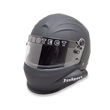 pyrotect Prosport – Full Face Side Aire forzado casco plano negro sa2015 coche Kart