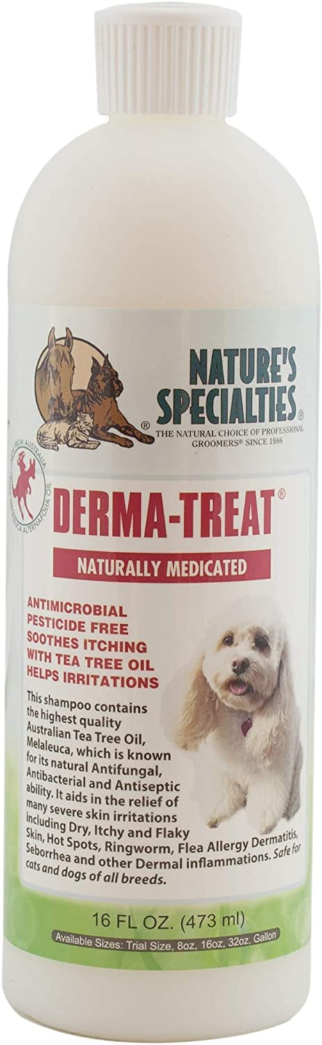 Nature's Specialties Derma Treat Anti-Itch Dog Shampoo for Pets, Tea Tree Oil Skin Relief, Dilutes 6:1 Made in USA Non-Toxic