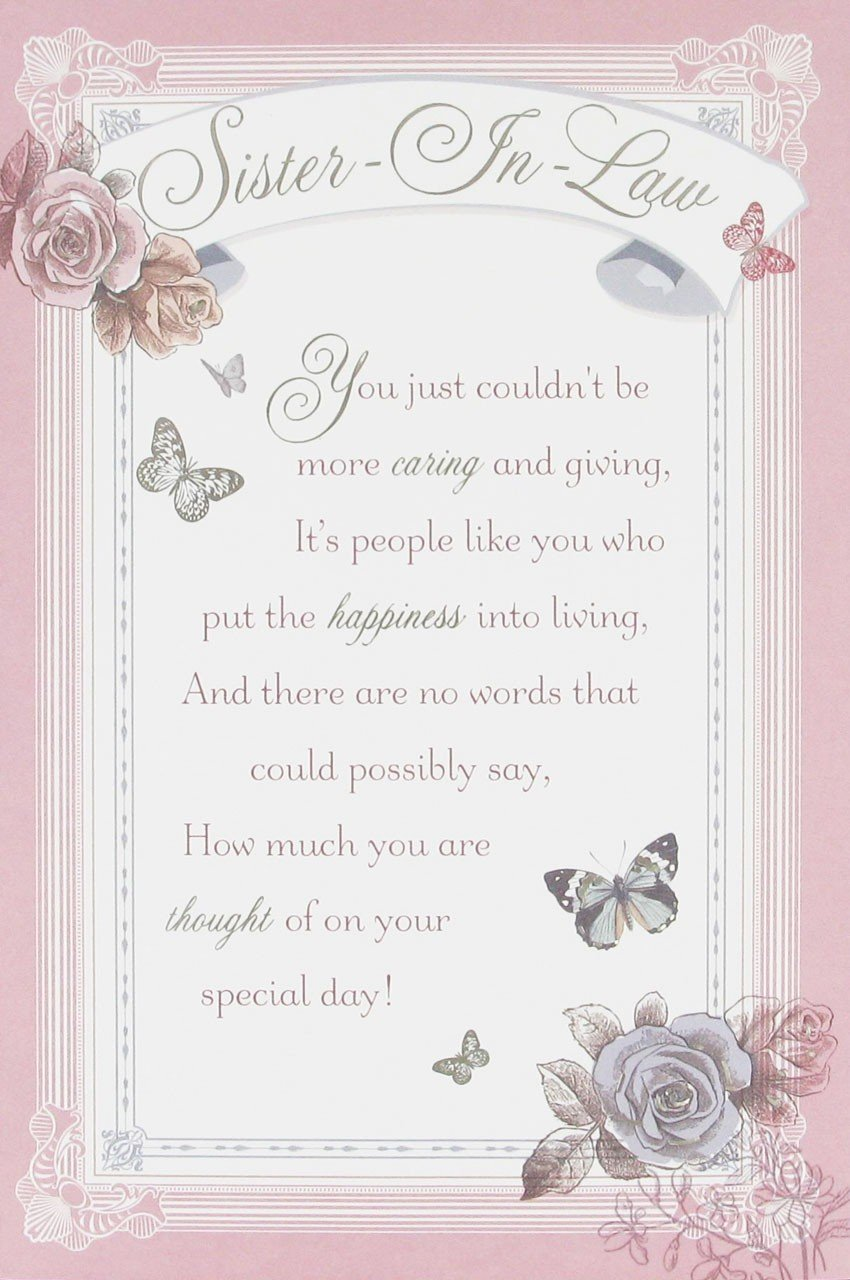 SisterInLaw Birthday Card with printed verse insert Flowers – Daughter Birthday Verses for Cards