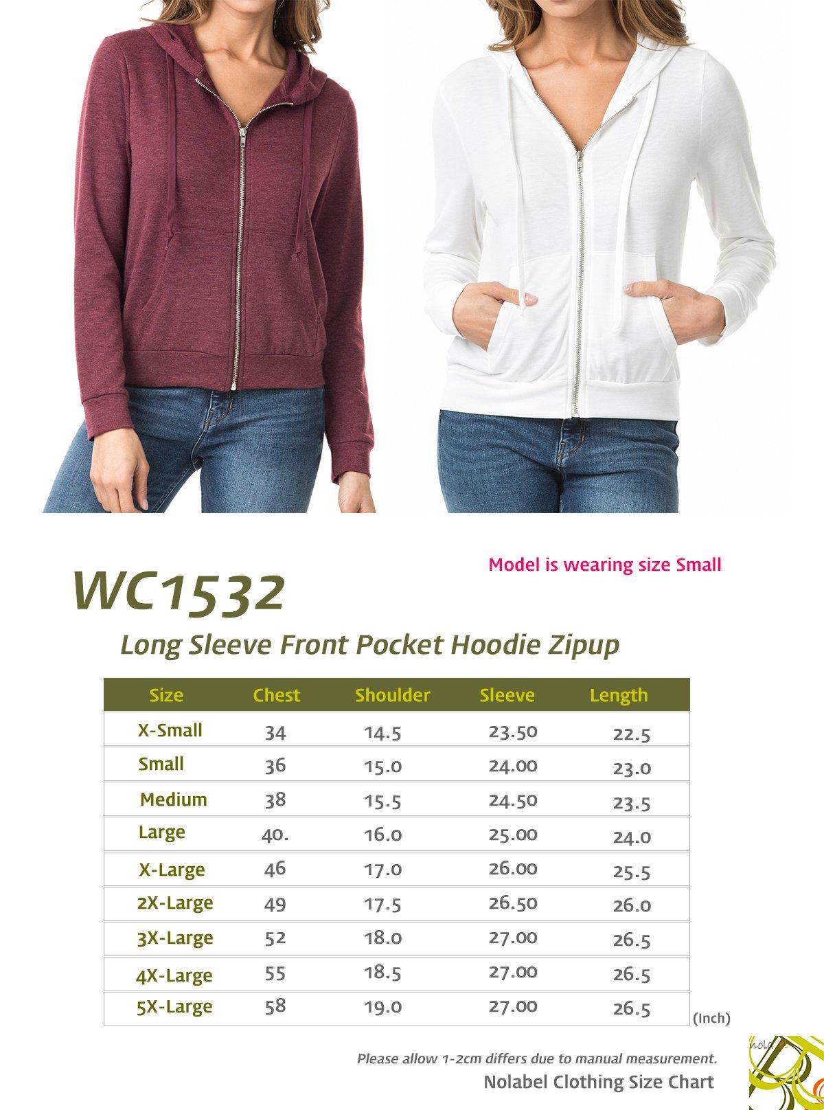 Nolabel B7_032 Women's Long Sleeve French Terry Drawstring Hoodies Zip Up Sweatshirt Hooded (Burgundy/5XL) by Nolabel (Image #6)