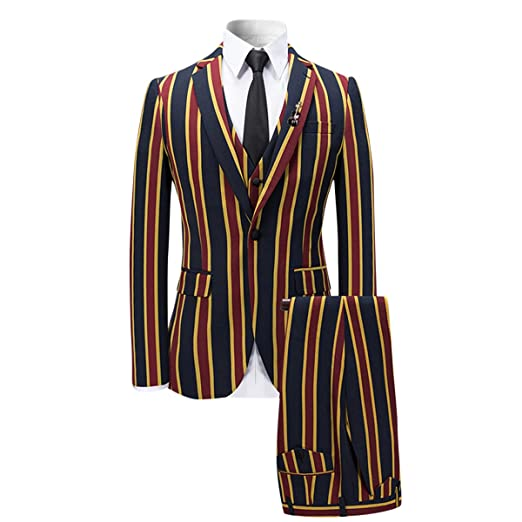 1960s Mens Suits | 70s Mens Disco Suits YFFUSHI Mens Colored Striped 3 Piece Suit Slim Fit Tuxedo Blazer Jacket Pants Vest Set $105.99 AT vintagedancer.com