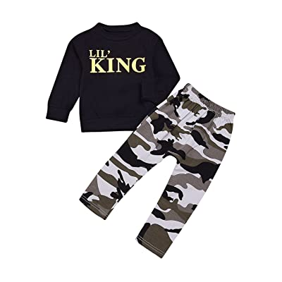 1-7T Baby Kids Boys Letters Black T-Shirt Tops + Camo Pants Trousers Outfits Set