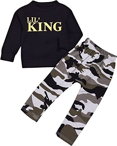 Kids Baby Boys Camouflage Long Sleeve T-shirt Long Pants Tracksuit 2PCS Outfits