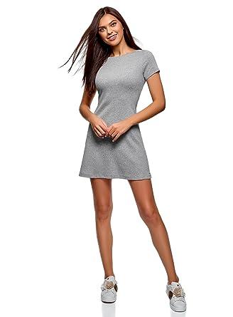 6d868284f922 oodji Ultra Damen Kleid Basic mit Rundhalsausschnitt