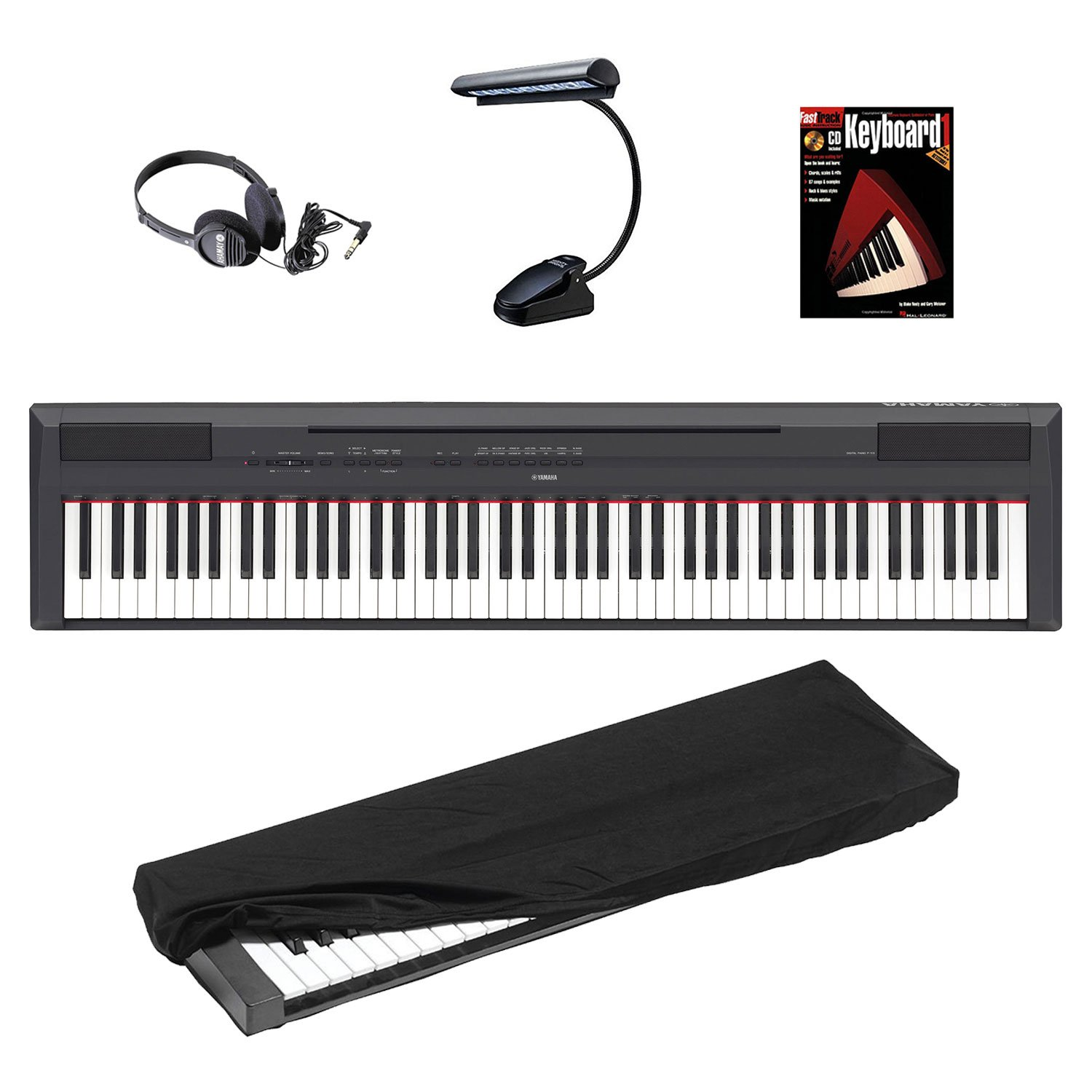 Yamaha P Series P105B 88-Key Digital Piano with Mighty Bright LED Music Book Light, JVC Full-Size Headphones, 88-Key Keyboard Dust Cover & FastTrack Keyboard Method Starter Pack