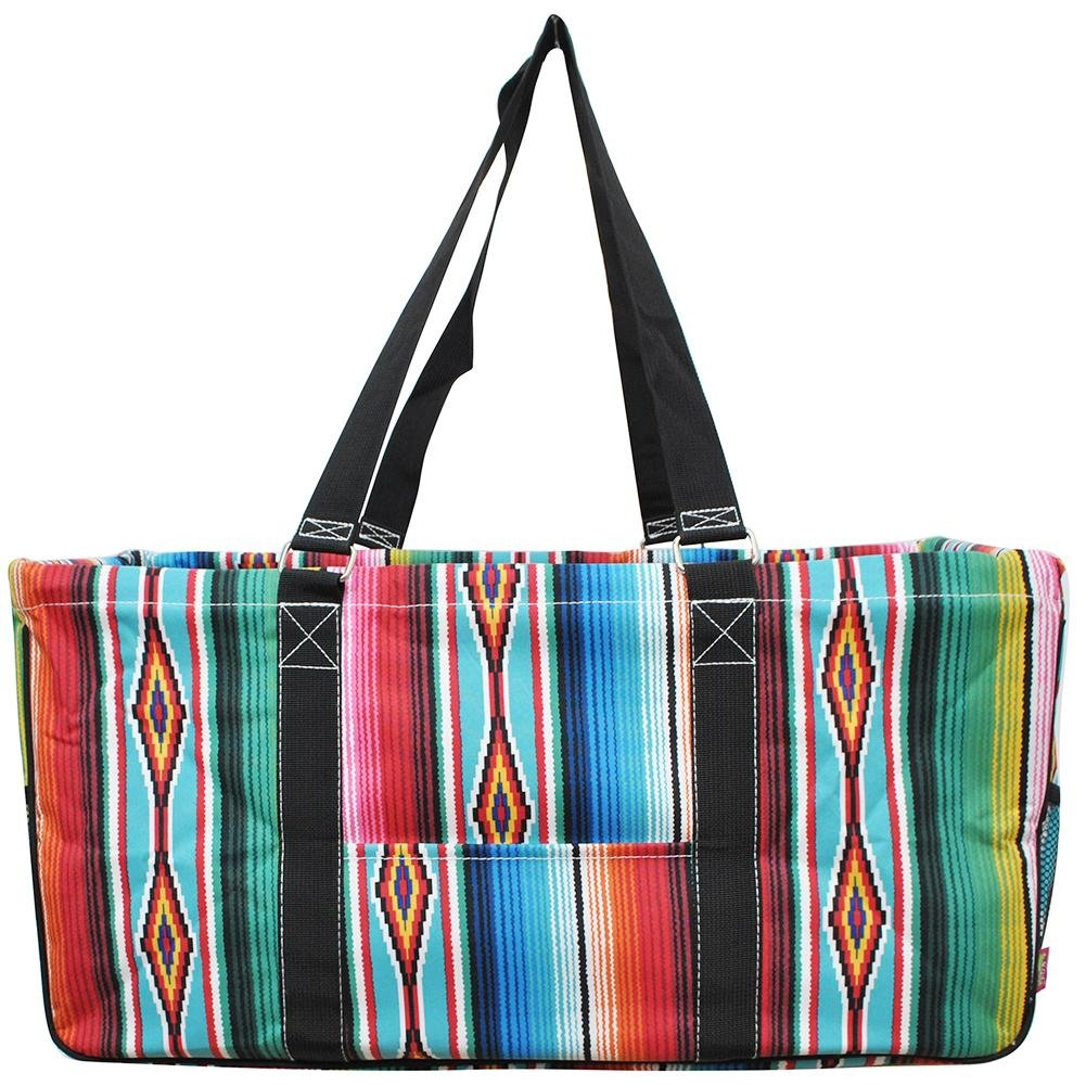 N. Gil All Purpose Open Top 23'' Classic Extra Large Utility Tote Bag 2017 Spring Collection (Serape Black)