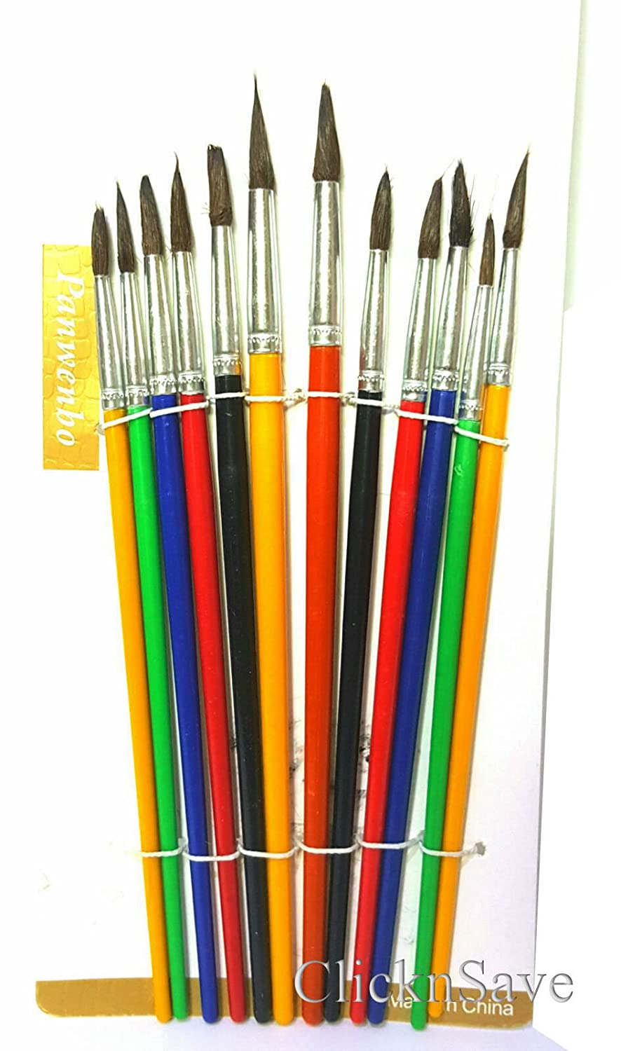 DPNY Pack Of 12 Various Sizes Artist Pointed Paint Brushes Set Small & Large