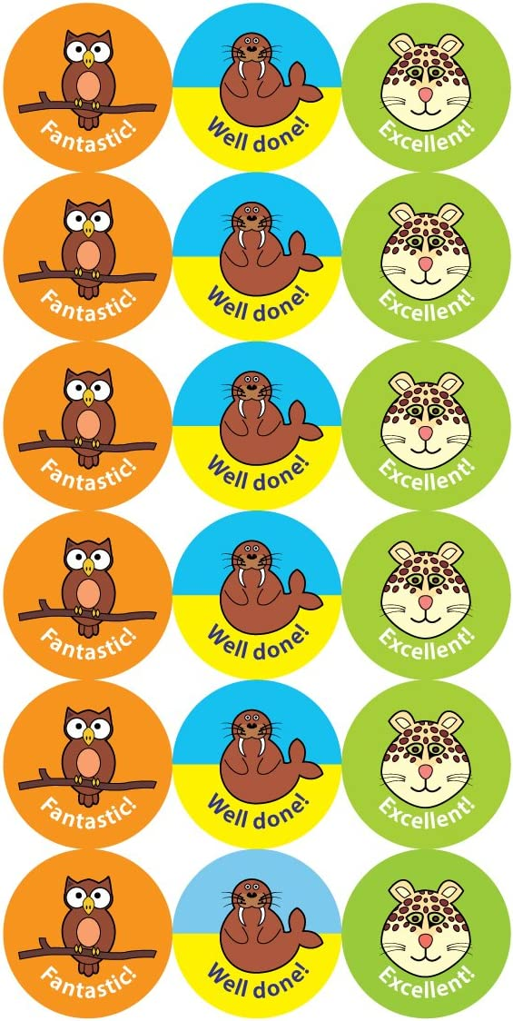The Sticker Factory 28 mm Animal Praise Stickers Pack of 54