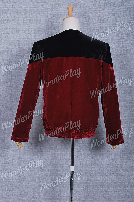 Star Trek Picard Black Red Velvet Red Uniform Cosplay Costume Outfit Jacket