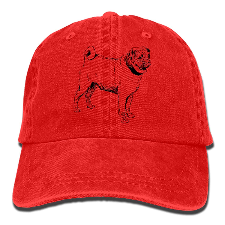 0cd6f926 SEVTNY Painting Pug Adult Denim Dad Solid Baseball Cap Hat at Amazon ...