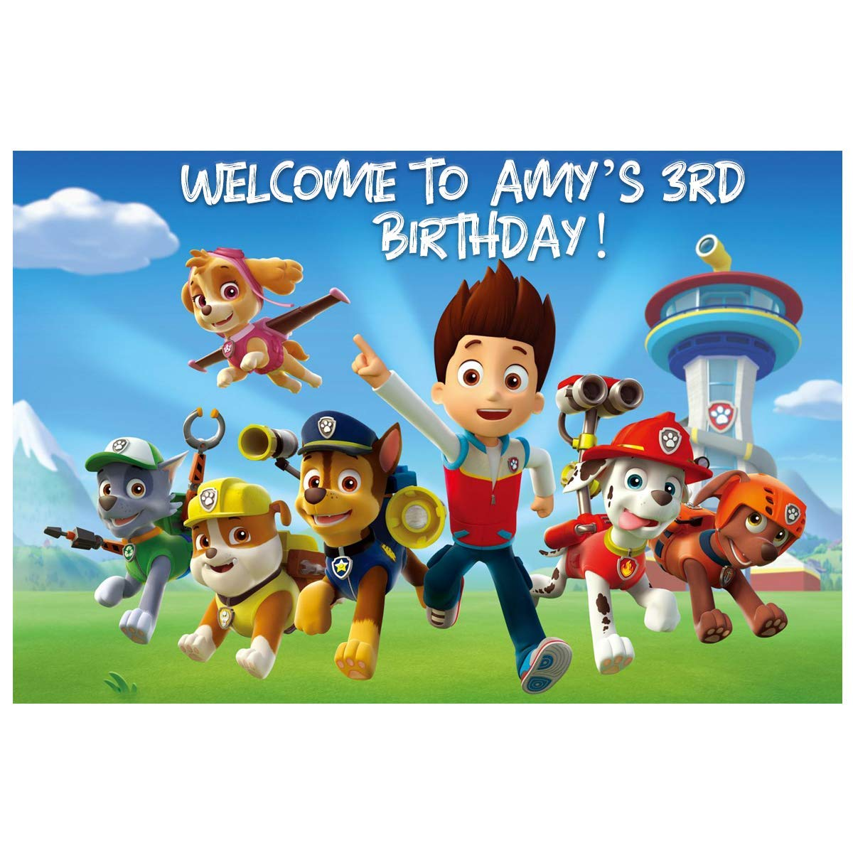 Num191 Backdrop Customized for Birthday Decor HoRmi Replacement for Paw Patrol Party Decoration Supplies