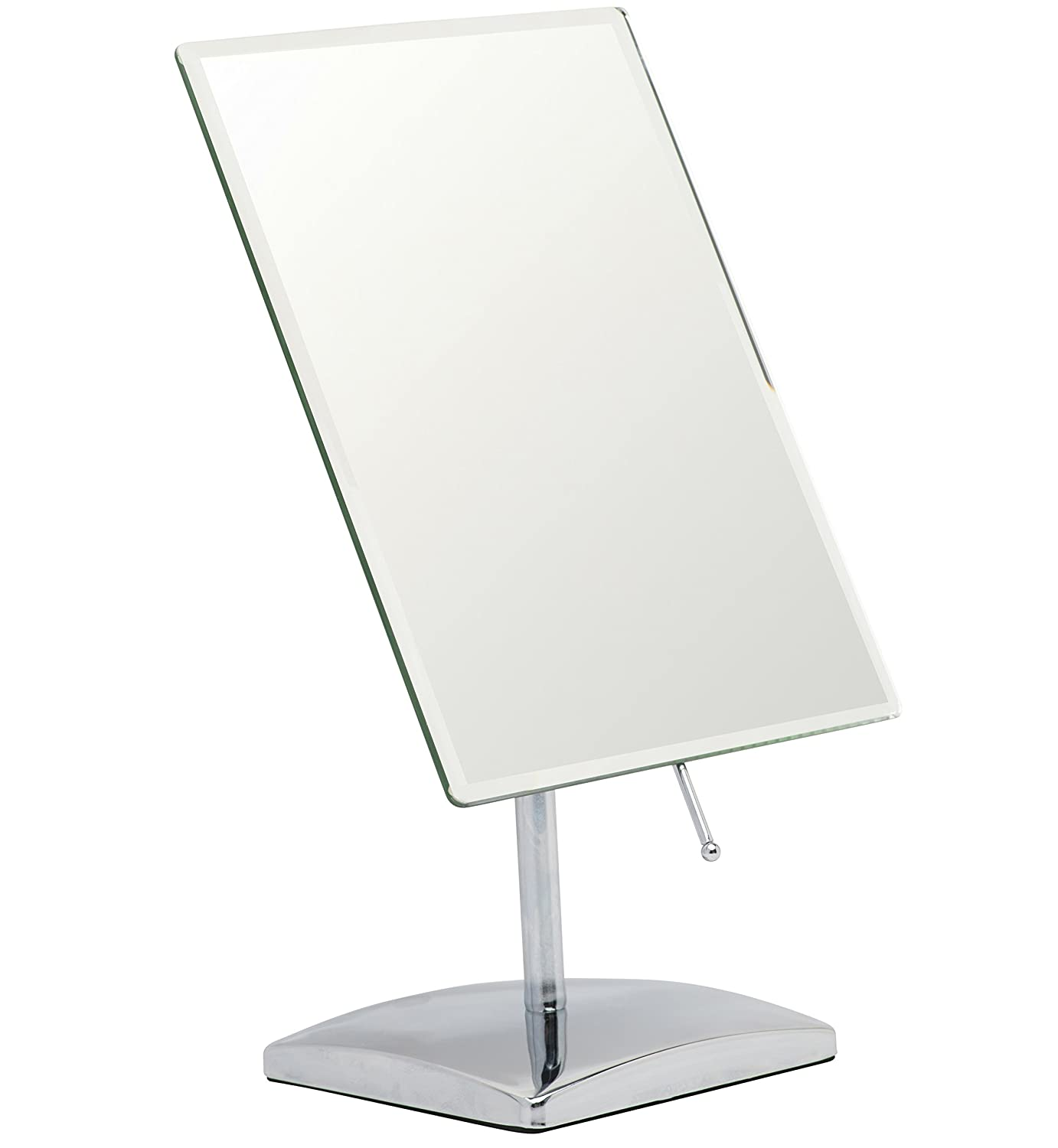 "Mirrorvana Rectangular Vanity Makeup Mirror ~ Elegant Frameless Design for Bedroom Table or Bathroom Countertop ~ Large Non-Magnifying 9.8"" x 7"" Glass Reflection, Chrome Finish"