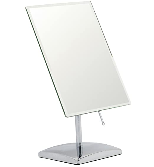 Mirrorvana Rectangular Vanity Makeup Mirror ~ Elegant Frameless Design for Bedroom Table or Bathroom Countertop ~ Large Non-Magnifying 9.8